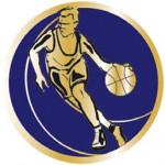 Pastille métal Basket fond Bleu diamètre 25mm