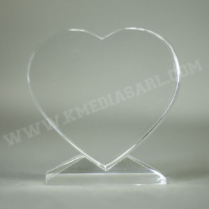 Bloc en verre en forme de cœur livré dans un coffret individuel